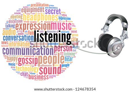 listening info-text graphics with head phone and arrangement concept on white background (word cloud)
