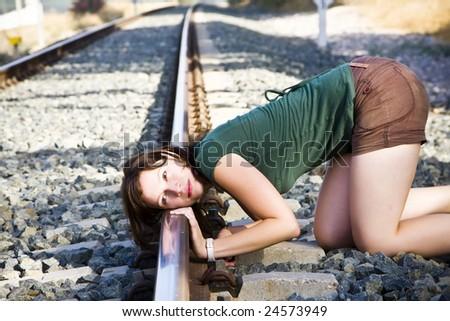 Listening the rails - stock photo