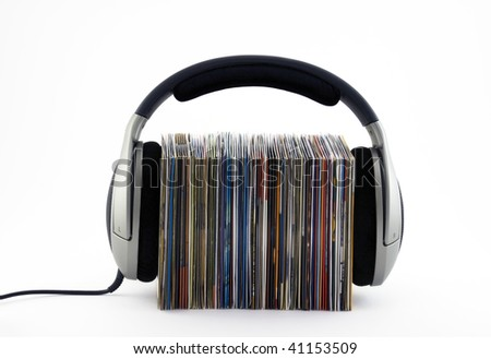 Listening to music concept - stock photo