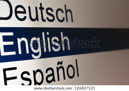 Lists of languages on the computer screen - stock photo