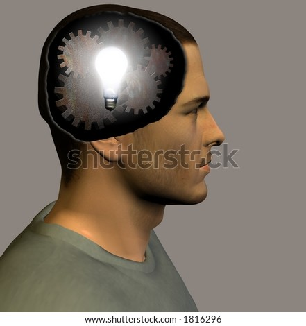 Lit bulb and gears inside head - stock photo