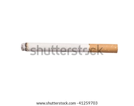 Lit cigarette isolated on a white background - stock photo