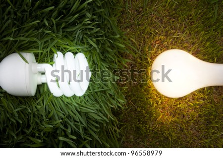 Lit Energy Savings And Incandescent Light Bulb On Grass. Conceptional Image to Show The Impact Of Energy Savings and Incandescent Light Bulbs on The Environment. - stock photo