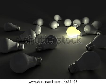 lit light bulb among unlit ones - stock photo