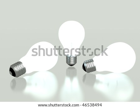 Lit light bulbs isolated