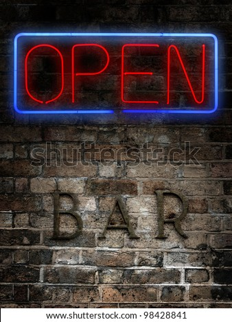lit neon at old bar - stock photo