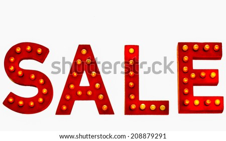 Lit Up Sale Sign isolated on white background - stock photo