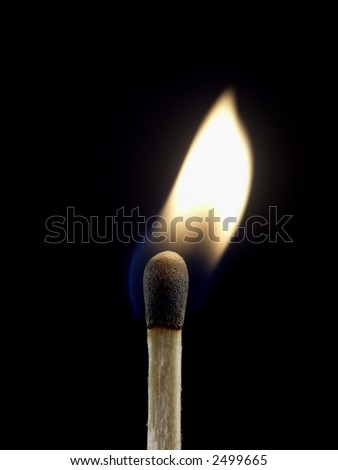 Lit wooden matchstick isolated on a black background.