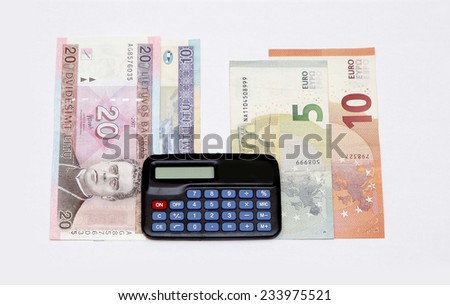 litas lits changeover euro exchange 2015 lithuania coins banknotes january calculate counting - stock photo