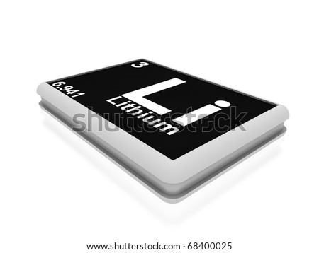 lithium chemical element button - stock photo