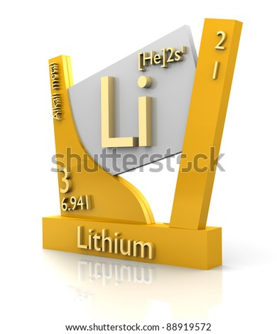 Lithium form Periodic Table of Elements - 3d made - stock photo