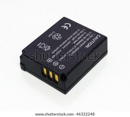 Lithium ion battery for digital camera on white background - stock photo