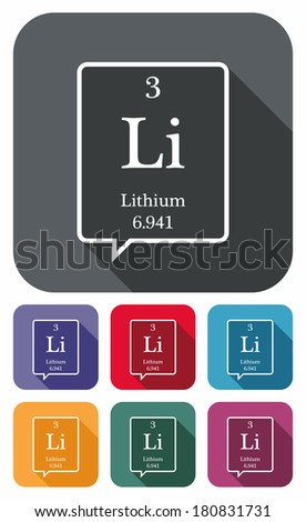 Lithium symbol from periodic table on colored flat icons - stock photo