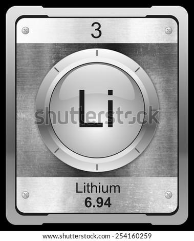 Lithium symbol from periodic table on metallic icon - stock photo