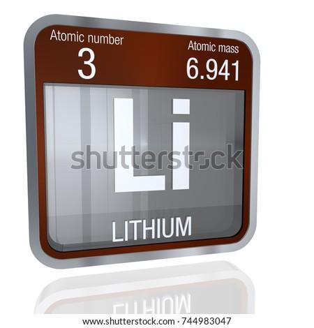 Lithium Symbol Square Shape Metallic Border Stock Illustration