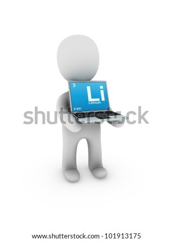 lithium symbol on screen laptop