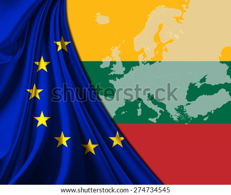 Lithuania and European Union Flag with Europe map background - stock photo