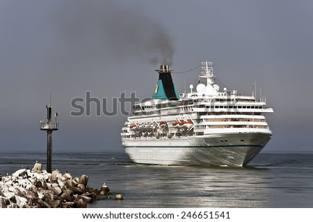 LITHUANIA- AUG 07:cruise liner by pier on August 07,2013 in Lithuania.MV Artania, is a cruise ship of the Phoenix Reisen fleet. - stock photo