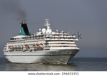LITHUANIA- AUG 07:cruise liner in the Baltic sea on August 07,2013 in Lithuania.MV Artania, is a cruise ship of the Phoenix Reisen fleet. - stock photo