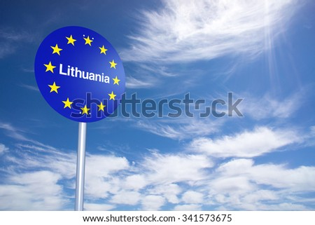 Lithuania Border Sign with clouds sky. 3D Rendering - stock photo