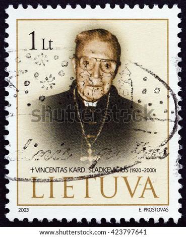 LITHUANIA - CIRCA 2003: A stamp printed in Lithuania shows Cardinal Vincentas Sladkevichius (1920-2000), circa 2003. - stock photo