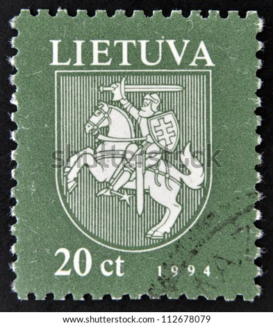 LITHUANIA - CIRCA 1994: A stamp printed in Lithuania shows the national emblem, circa 1994