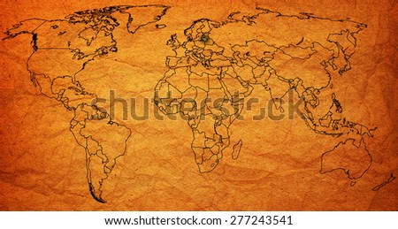 lithuania flag on old vintage world map with national borders - stock photo