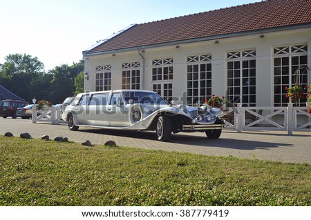 LITHUANIA-JULY 04:Wedding limo rent on July 04,2015 in Lithuania.A limousine (or limo) is a luxury sedan or saloon car.  - stock photo