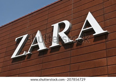 LITHUANIA-JULY 29:ZARA logo on July 29, 2014 in Lithuania.Zara is an Spanish clothing and accessories retailer.
