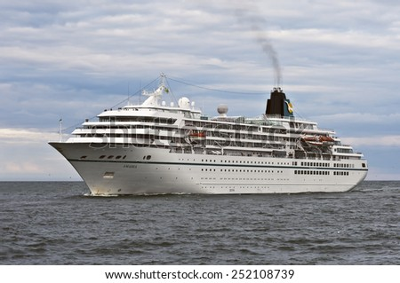 LITHUANIA_JUNE 26:cruise liner AMADEA in the Baltic sea on Augus 26,2012 in Lithuania. - stock photo