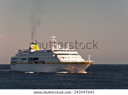 LITHUANIA- JUNE 23:cruise liner in the Baltic sea on June 23,2012 in Lithuania.  - stock photo