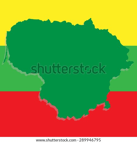 Lithuania map on the background of the national flag - stock photo