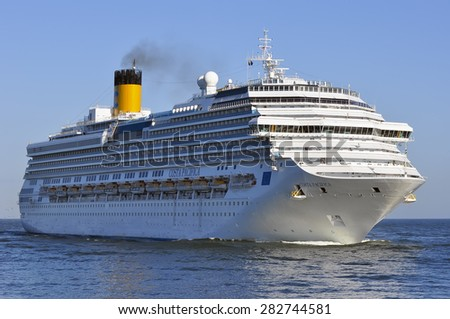 LITHUANIA - MAY 28:Cruise liner COSTA PACIFICA in in Baltic Sea on May 28,2015 in Lithuania.