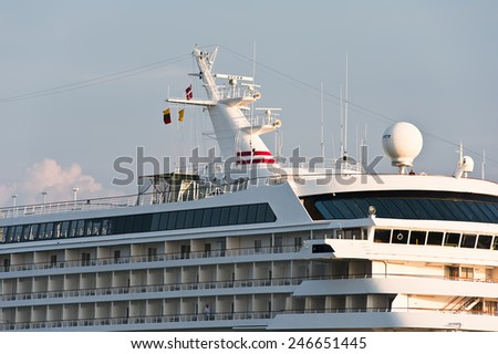LITHUANIA- MAY 30:cruise liner in the Baltic sea on May 30,2012 in Lithuania.Crystal Symphony is a cruise ship owned and operated by Crystal Cruises.  - stock photo
