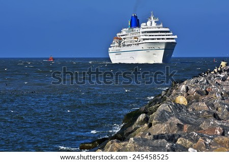 LITHUANIA-SEPT 25:Cruise liner in the Baltic sea on September 25,2011 in Lithuania.Amadea is a cruise ship owned by Amadea Shipping Company,operated under charter by the Germany-based Phoenix Reisen - stock photo