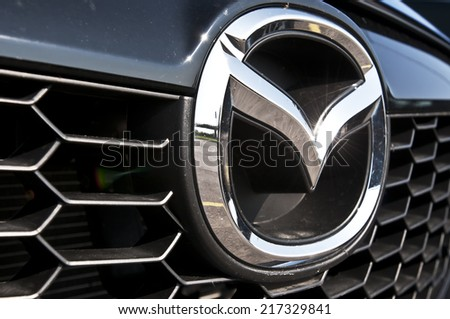 LITHUANIA-SEPTEMBER 14:MAZDA logo on September 14,2014 in Lithuania.Mazda Motor Corporation is a Japanese automaker.