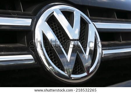 LITHUANIA-SEPTEMBER 18:Volkswagen logo on September 18,20014 in Lithuania. Volkswagen is a German automobile manufacturer headquartered in Wolfsburg, Lower Saxony, Germany.  - stock photo