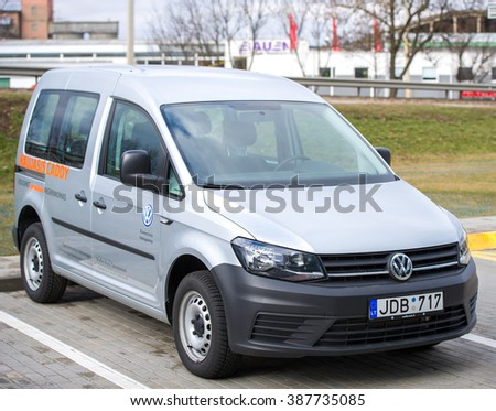 LITHUANIA, VILNIUS - FEB 26, 2016: Volkswagen CADDY test drive car. The Volkswagen Caddy is a light commercial vehicle produced by the Volkswagen Group since 1980. - stock photo