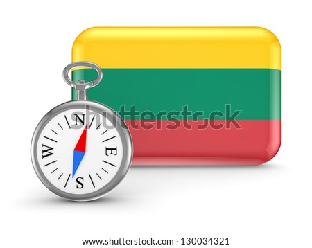 Lithuanian flag.Isolated on white background.3d rendered. - stock photo