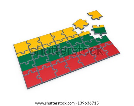Lithuanian flag made of puzzles.Isolated on white.3d rendered. - stock photo