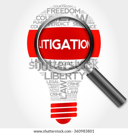 Litigation bulb word cloud with magnifying glass, business concept - stock photo