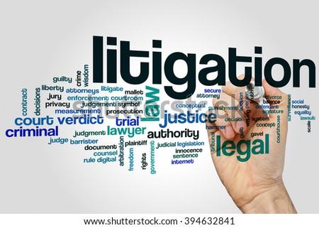 Litigation word cloud concept with legal law related tags - stock photo