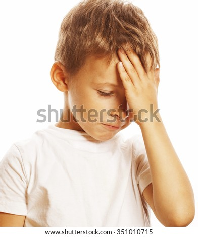 litlle cute blond boy tired sad isolated on white close up - stock photo