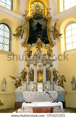 LITOVEL, CZECH REPUBLIC, MARCH 21, 2011  - The main altar in the church of Saint Mark in Litovel