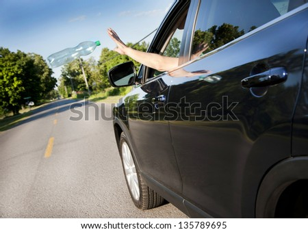 Littering the roads - stock photo