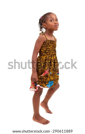 Little african american girl isolated on white background