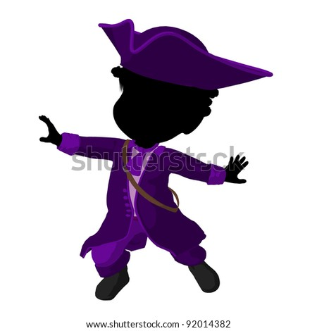 african american pirate girl on a white background - stock photo