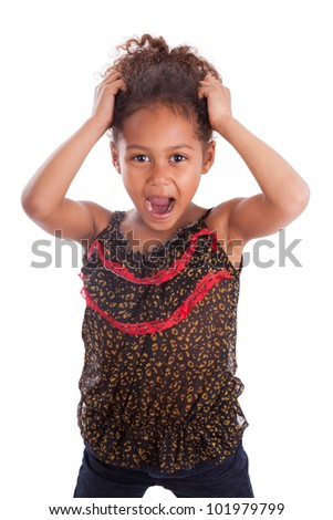 Little African Asian girl holding her head,  over white background