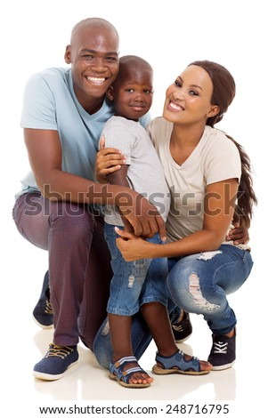 little african boy and parents isolated on white background - stock photo