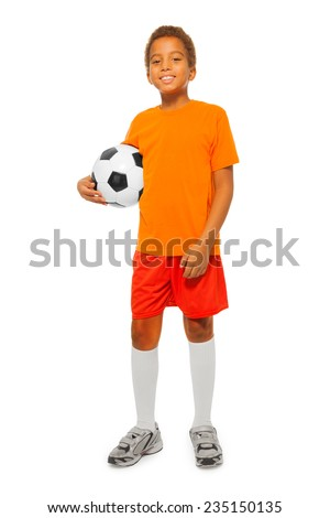 Little African boy holding soccer ball isolated - stock photo
